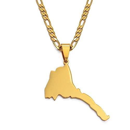 YUANYIRAN Mappa delle Collane di Pendenti Dell'Eritrea - Fascino Etnico Patriottico Africa Mappa Collana Bandiera, Oro Colore Classico Hip Hop Gioielli per Donna Uomo Trend Party Regalo, Oro, 60Cm