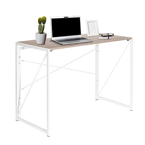 hjh OFFICE 634746 Schreibtisch klappbar Easy UP Multi 100 x 50 cm Holz Eiche/Weiß Computer Klapptisch mit Metallgestell