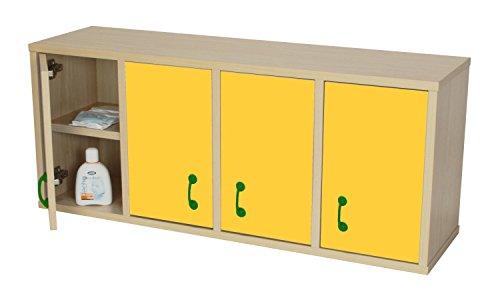 Mobeduc ladekast, 8 vakken met deur, hout 100x28x42 cm Beuk en geel