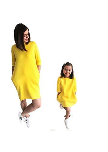 Wide.ling Regalo del Dia De La Madre Madre Trajes 1 Unids Moda Madre Hija Coincidencia Vestidos Ropa Traje Amarillo Brillante Familia A Juego SóLido Mamá Y NiñA Traje Casual