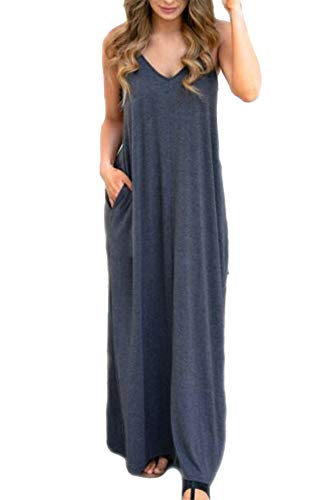Women's Casual Loose Long Maxi T Shirt Dress Spaghetti Strap Dress with Pockets (M, Dark Gray)