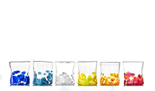 GOTO Set 6 Bicchieri Colorati Vetro di Murano 300 millilitri, Lavorati a Mano da un Maestro Vetraio Veneziano (Collezione Mirò)