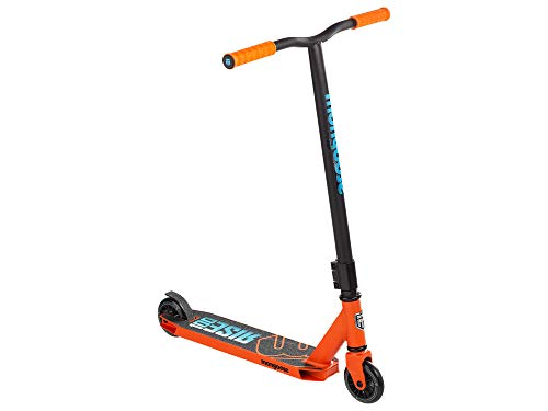 Mongoose Rise 100 Youth and Adult Freestyle Kick Scooter, High Impact 110mm Wheels, Bike-Style Grips, Lightweight Alloy Deck, Orange/Blue, One Size