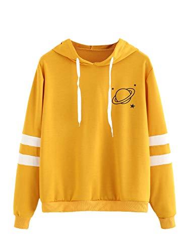 SweatyRocks Women's Planet Print Varsity Striped Drawstring Pullover Sweatshirt Hoodies Tops Yellow L