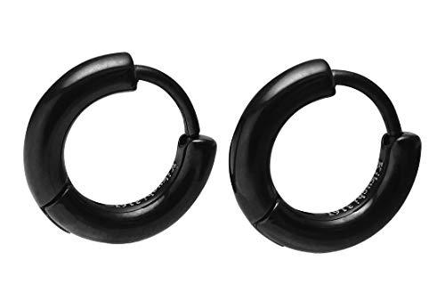 Kikuchi ERTS012 - Pendientes de hélix, estrechos, de titanio, acero inoxidable, color negro brillante, 12 mm de diámetro, tubo fino