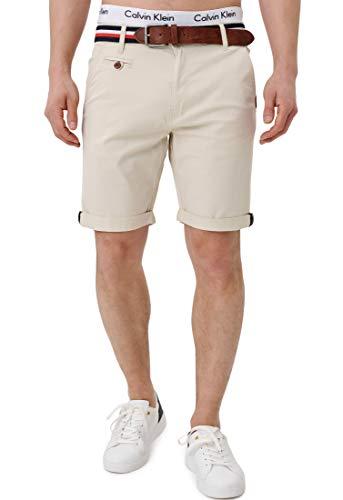 Indicode Herren Creel Chino Shorts mit 5 Taschen inkl. Gürtel aus 98% Baumwolle | Kurze Hose Regular Fit Bermuda Stretch Herrenshorts Short Men Pants Sommerhose kurz für Männer Fog M
