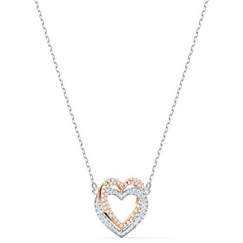Swarovski Infinity Double Heart Halskette, Damenhalskette im Metallmix mit Herzanhänger in Funkelndem Kristallpavé