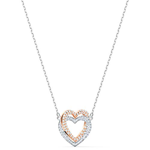 SWAROVSKI Women#039s Infinity Heart Mixed Metal Finish Double Heart Necklace White Crystal