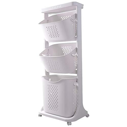 YDU Multifunción Sucia Cesta de Ropa, con Las cestas de Almacenamiento y Ruedas Baño Carro contenedor de Almacenamiento Carros de Bin (Color : 3-Tier)