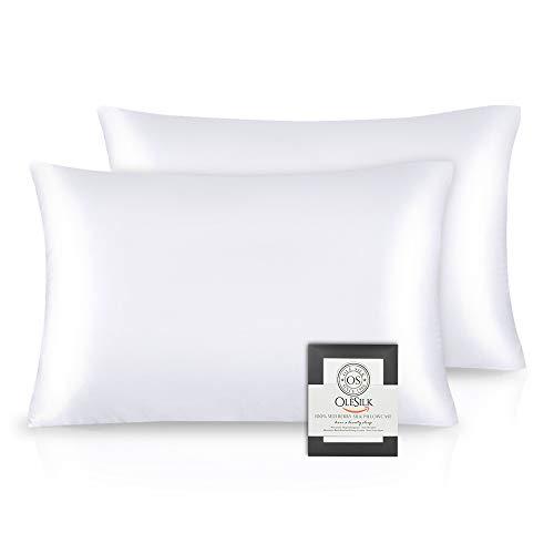 OLESILK Funda de almohada de seda 100% Mulbery con cremallera oculta para el cabello y la piel, ambos lados 16 mm Charmeuse caja de regalo 2 piezas - blanco, 50 x 75 cm
