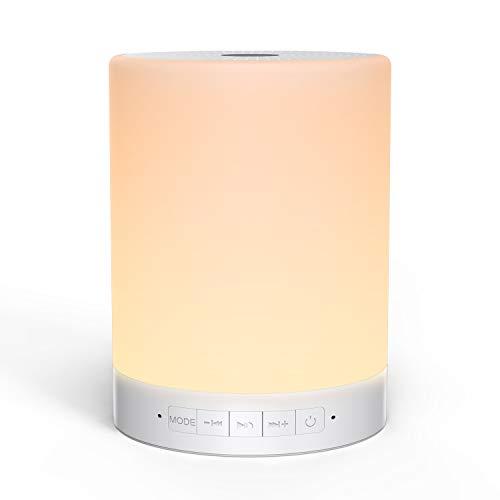 Luz de noche LED con control táctil, MOMENTO INFANTIL Lámpara de mesita de noche inteligente recargable incorporada de 2000 mAh, con altavoz portátil inalámbrico Bluetooth, blanco