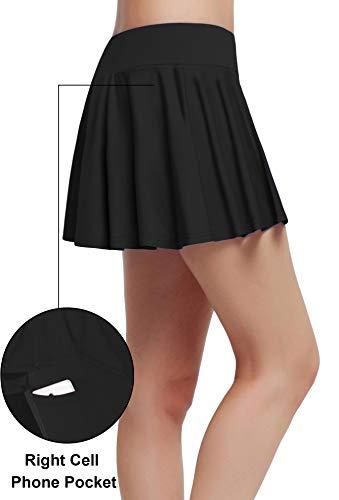 Westkun Mujer Plisada EláStica Escuela Skorts Tenis con Ropa Interior Cubierto(Negro-Plisada,M)