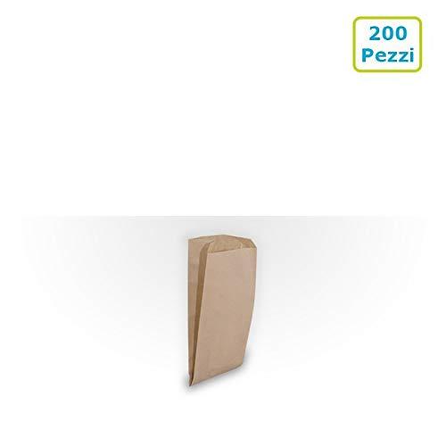 Palucart® Sacchetti di Carta per Alimenti Sacchetti Carta Avana Sacchetto Carta Kraft 12 x 24 Scatola da 200 Pezzi Buste di Carta Marrone