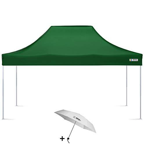 BRIMO Faltpavillon + Freier Regenschirm (3x4,5m, Grün)