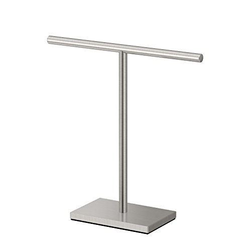 Gatco 1444SN Modern T-Shape Rectangle Base Freestanding Countertop Towel Holder, Satin Nickel