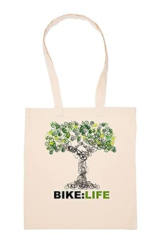 Gunmant Tree Of Bike And Life Sac à Provisions Beige Réutilisable Durable écologique Reusable Shopping Bag