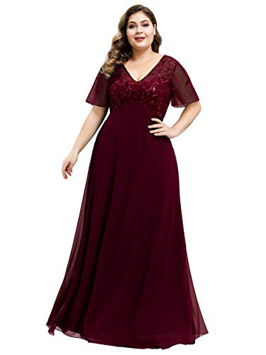 Ever-Pretty Women s Short Sleeve Sweetheart Illusion Plus Size Wedding Party Maxi Dress Burgundy US16