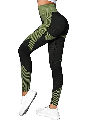Wayleb Leggings de Sport Femme Legging Compression Anti-Cellulite Slim Fit Pantalon de Yoga Taille Haute Pants Butt Lifter pour Jogging Fitness,L+Vert