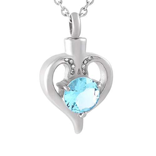 Wxcvz Colgante Conmemorativo Collar De Cenizas De Cremación De Corazón De Cristal Azul con Ajuste De Puntas Colgante De Joyería De Urna Conmemorativa De Acero Inoxidable