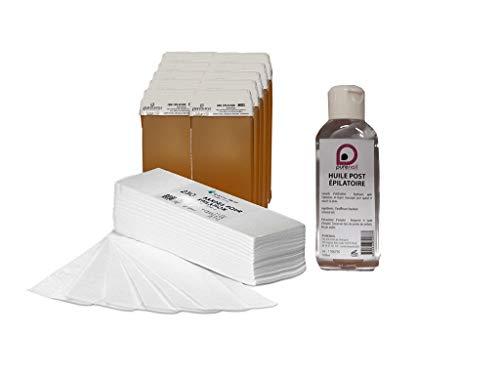 lot de 10 cartouche de cire à épiler MIEL +250 bandes d'épilation + 1 huile Post épilatoire 100ml Purewax By Purenail