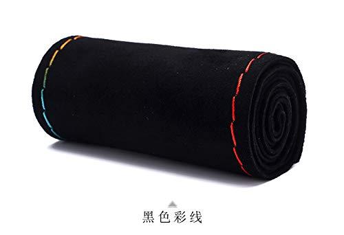 Einzigartige neue Wildleder Material Auto Hand Nähen Lenkradbezug Größe 15 Zoll schwarz rot