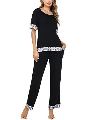 Aibrou Pijamas para Mujer, Conjunto de Pijamas Mujer Verano en Cuello Redondo Pijama de Manga Corta Conjunto Camiseta y Pantalones Larga 2 Piezas Ropa de Casa S-XXL per Hogar Casual