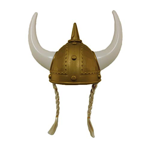 Adult Plastic Gold Norse Viking Helmet with Blonde Braids