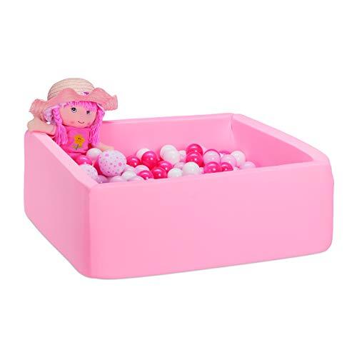 Relaxdays Piscina 200 Bolas de Espuma, Cuadrada, para niños, 30 x 80 x 80 cm, Color Rosa, (10035305)