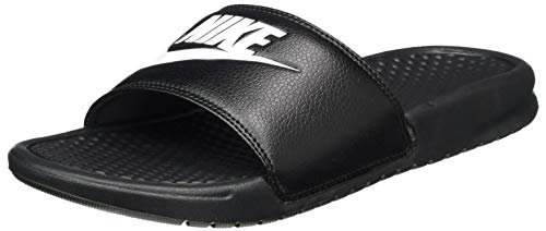 Nike Mens Benassi JDI Lightweight Slides Beach Holiday Sandals Summer - Black/White - 12