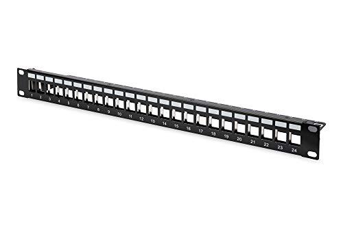 DIGITUS Patch-Panel Modular - 24 Ports - 1HE - Geschirmt - Für Keystone-Module - 19 Zoll Rack - Schwarz