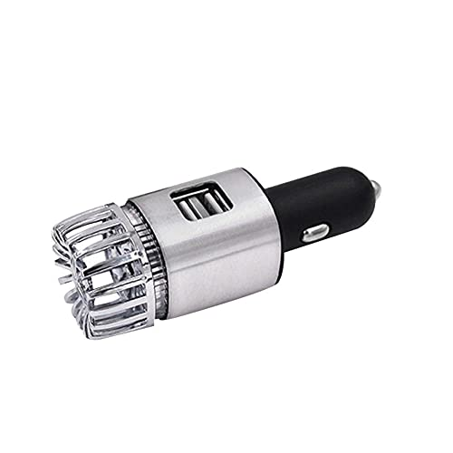 XKMY Purificador de aire para coche, difusor de coche, mini purificador de aire LED, barra de oxígeno de anión, ionizador de ozono, cargador de teléfono (color plateado)