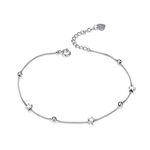 Vrouwen Sterling zilveren armband 925 klassieke vijfpuntige ster bal armband stijlvolle verstelbare vergulde sieraden verjaardag cadeau doos verpakking