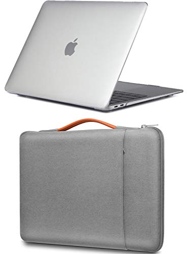 ProCase for MacBook Air 13 M1 Hard Shell Case and Sleeve Bag, Compatible with 2020 2019 2018 Release MacBook Air 13 (A2337 A2179 A1932) -Crystal