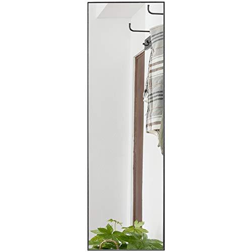 Rose Home Fashion Wandspiegel Groß Ganzkörperspiegel, Türspiegel, 122 X 35CM Schwarzer Rahmen aus Aluminiumlegierung