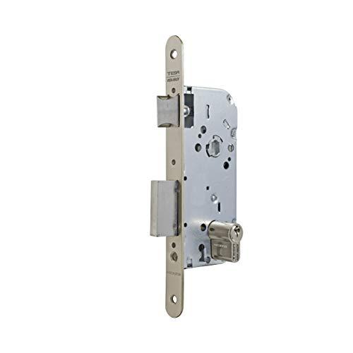 Tesa Assa Abloy 13048RHN Cerradura de embutir para puertas de madera Con Cilindro Niquelado Entrada 40 mm / Frente Redondo 130