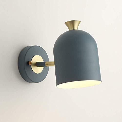 BJClight Lámpara de pared para interiores, lámpara de pared minimalista nórdica, lámpara de metal Macaron, iluminación, luces de noche, portalámparas ajustable, zócalo E27