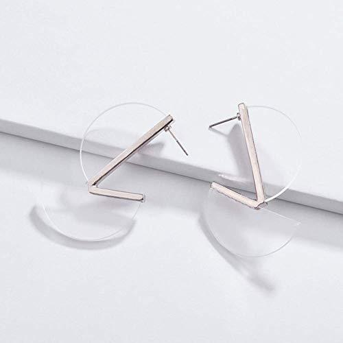 Elegante Simplicidad Moda Arte Moderno Inspirado Acrílico Simple Geometría Pendientes de aro Semicírculo para Mujer Personalidad Bohemia Accesorios N-J, Claro, Como en las Imágenes