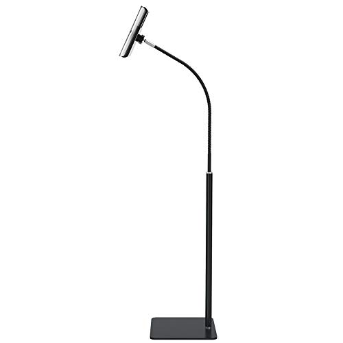 """Tablet Floor Stand with Flexible Gooseneck and Stable Aluminum Base Suitable for 3.5"""" - 11"""" Smart Phone & Tablet Black"""