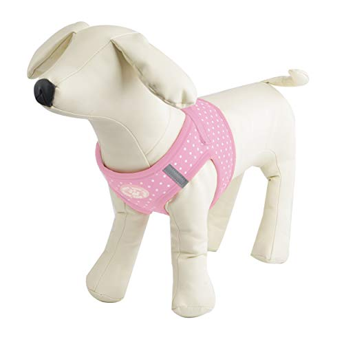 BINGPET Vest Harness for Puppy and Cat, No Pull Cute Pink Polka Dot Soft Dog Harness for Small and Medium Dogs