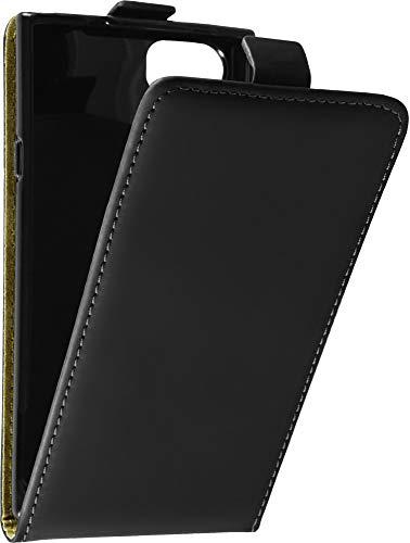 Baluum Hülle Kunstleder Flip Hülle für BlackBerry KEYone Schwarz mit Einer Silikon Schale - aufklappbare Lederhülle Schutzhülle Cover (Leder Flip Schwarz)
