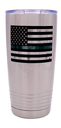 Große Trinkbecher aus Edelstahl, mit grüner Flagge, 570 ml, Militär, B&esrecht, Border Patrol, Game Warden Park Ranger