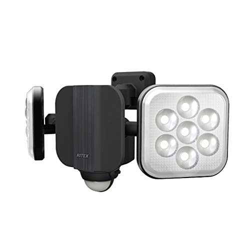 ムサシ(MUSASHI) センサーライト ブラック 本体サイズ: 幅 29.5 × 奥行 12.5 ×高さ 14.6 cm 11W×2灯フリーアーム式LEDセンサーライト LED-AC2022