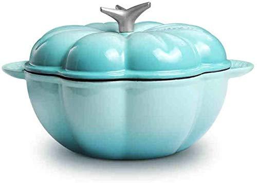 Sooiy Cast Creative Citrouille Fer émail Pot, Cocotte, épaissie Batterie de Cuisine Saine Casserole, 3L 2020,Bleu