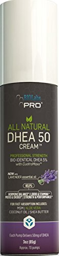 DHEA All Natural Bioidentical 50mg Dhea Cream, Two Month Supply, Dehydroepiandrosterone, Organic Fenugreek, Tribulus Terrestris, Maca Root and Hgw (Lavender)