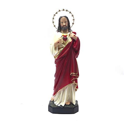Imagem Sagrado Coração de Jesus Resplendor Estrelas Gesso 30 cm