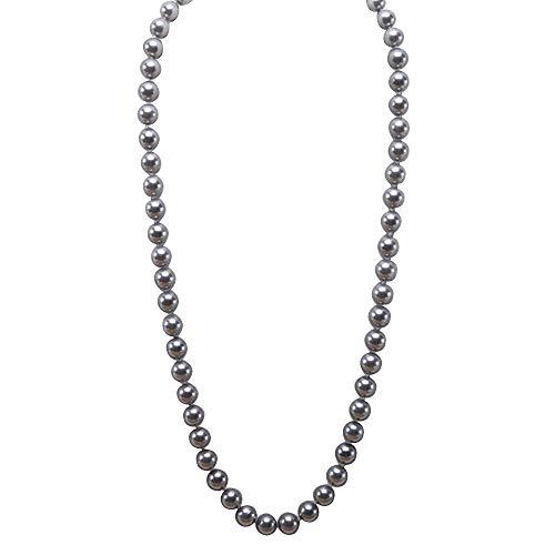 JYX Perlenkette Echte 12 mm Runde Grau Südsee Muschel Perlen Halskette für Damen 70 cm