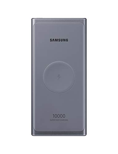 SAMSUNG 10,000 mAh Super Fast 25W Portable Wireless Charger Charger Battery Pack USB-C, Silver (US Version with Warranty) (EB-U3300XJEGUS)