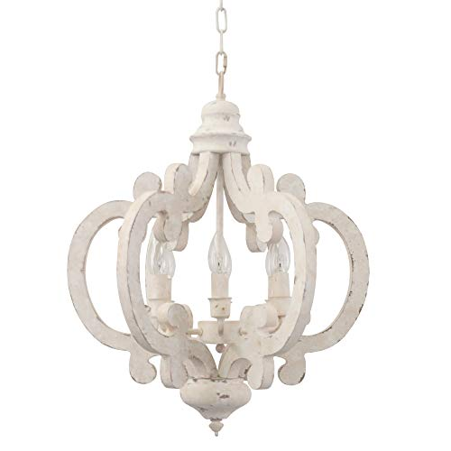 Cottage 6-Light Candle Wooden Chandelier, Traditional...