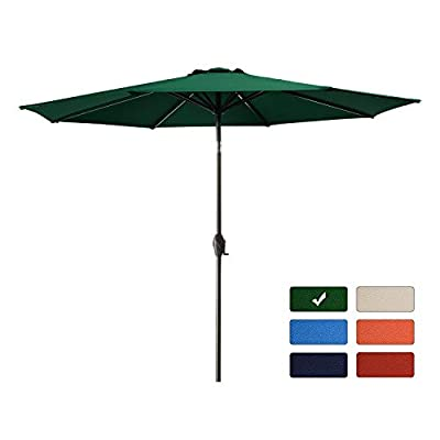 Bumblr 9Ft Patio Umbrella Outdoor Market Umbrella with 8 Sturdy Ribs,Wing Vent,Push Button Tilt & Crank (9 Ft, Red)