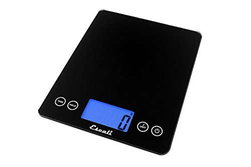 Escali 2210IB ArtiXL Extra-Large Glass Digital LCD Display Kitchen Scale, Measures Liquid and Dry Ingredients, Tare Function, 22lb Capacity, Black